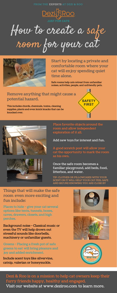 infographic on how to create a safe room for your cat to hide