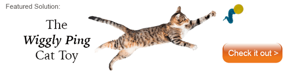 tabby cat reaching in the air for a Wiggly Ping cat toy