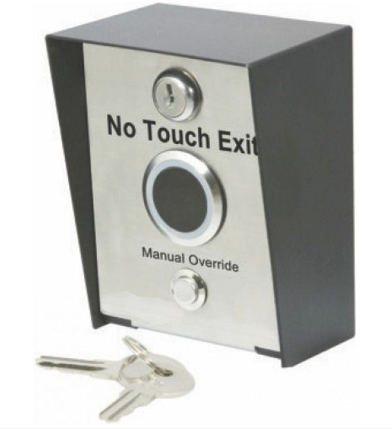 NO-TOUCH OUTDOOR IR Request to Exit Button w/Locking Pole Mount Enclosure