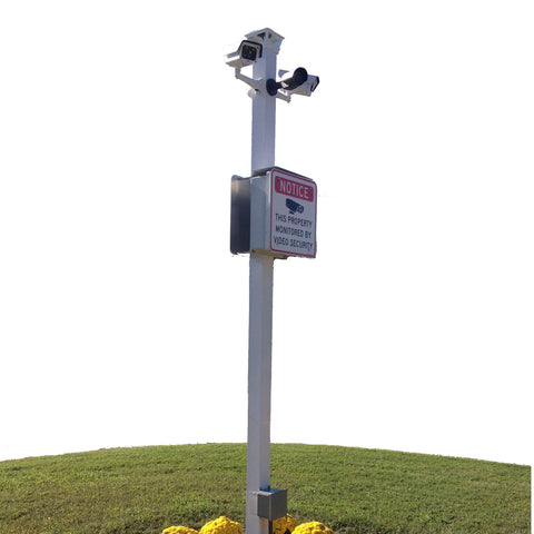 Site Sentinel 4 IP Cameras Standalone Outdoor Camera Pole System with On-Site Recording