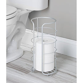 InterDesign Metro Rustproof Aluminum Free Standing Toilet Paper Roll Holder for Bathroom Storage - Silver