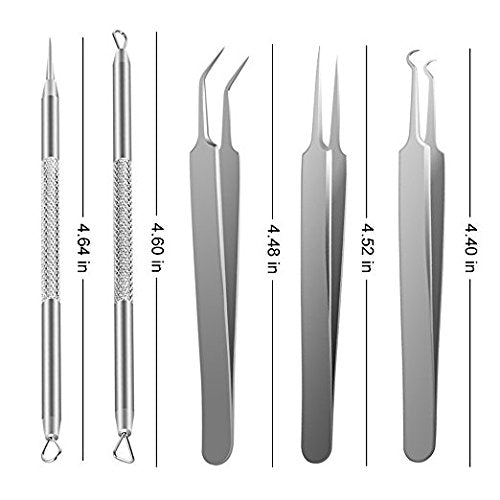 Blackhead Remover Tool kit 5pcs Professional Stainless Steel Pimple Comedone Extractor Curved Tweezers Kit