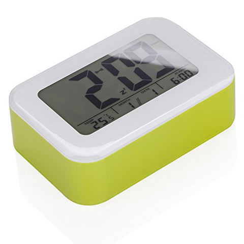 Bear Motion Digital Alarm Clock with Large LCD Screen Number Display for Travel Desk Home with Date Time Calendar Temperature Display Snooze