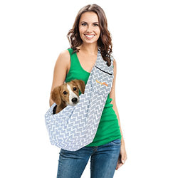 Dog Carrier Sling Pet Sling with Extra Pocket, FurryFido Adjustable Pet Sling Carrier for Dogs/Cats/Bunny under 13lbs with Collar Latch and Loop (Twill grey)