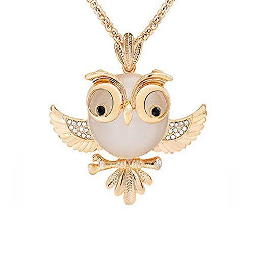 Acxico Rose Gold Metal Inlaid with Crystal Opal Owl Pendant Necklace