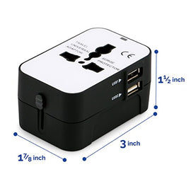 Travel Adapter, iGearPro Worldwide All in One Universal Power Converters Wall AC Power Plug Adapter Power Plug Wall Charger with Dual USB Charging Ports for USA EU UK AUS Cell Phone Laptop