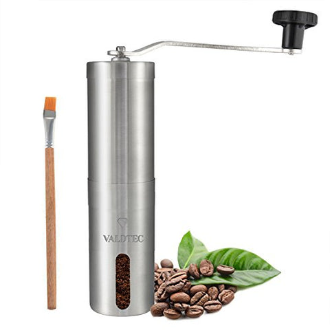 Portable Manual Coffee Grinder by VALDTEC - Heavy Duty Stainless Steel Coffee Grinder with Conical Ceramic Burr Mill