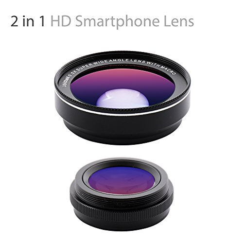 Ubittek iPhone Camera, 0.5x 140° Wide Angle + 15x Macro Clip-on Cell Phone Camera Lens Kit for iPhone 7/7 Plus /6s/6s Plus/6/5 & Samsung S8/S8 Plus/S7/S7 Edge & Most Smartphones (black)