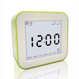 Digital Alarm Clock, eBoTrade Silicone Protective Large Screen Digital LCD Desk Alarm Clock with Snooze Light Green