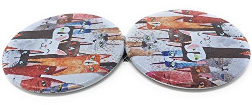 Purse Pocket Mirror - Whimsical Cats - 2 in 1 With 2X Magnification