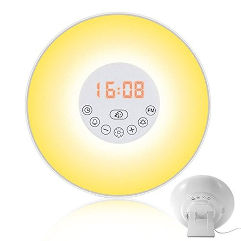Wake Up Light with Colored Sunrise Simulation Alarm Clock, Atmosphere Lamp, Bedside Lamp Nature Sounds, FM radio and USB Charger,