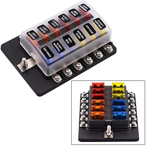 32V 12 Way Fuse Box Holder with LED Warning Light Kit Fuse Block with Protective Cover for Automotive Car Boat