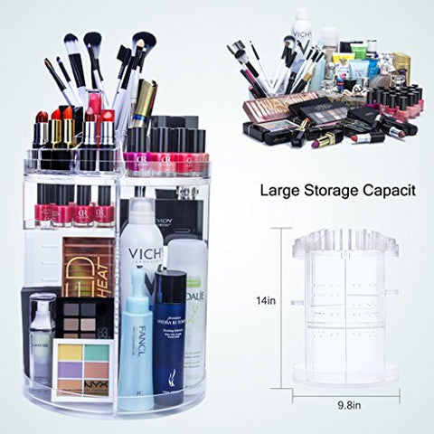 Gospire 360 Degree Rotating Jewelry and Makeup Organizer Cosmetics Holder Adjustable Multi-Function Storage Box for Makeup