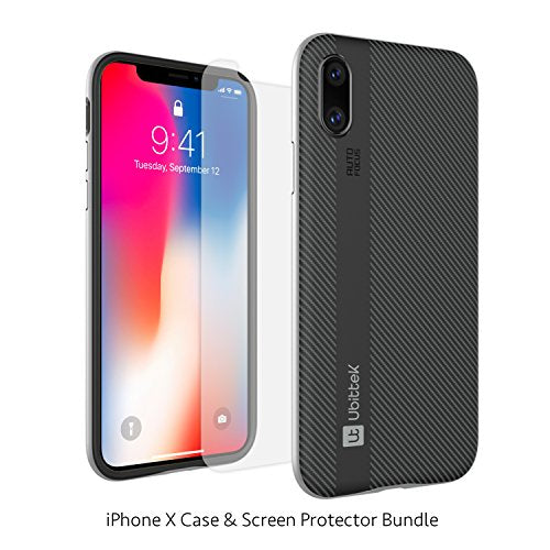 iPhone X Case with Tempered Glass Screen Protector (Silver)