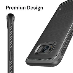 Samsung Galaxy S8 Case with Tempered Glass Screen Protector, Ubittek Resilient Shock Absorption and Carbon Fiber Design Case with [3D Curved Glass] [Tempered Glass] Screen Protector