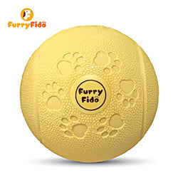 Interactive Toy Ball For Dogs by FurryFido BB3 dog ball: Soft Rubber Treat-Dispensing Chewing for Big & Small Dogs (Orange)
