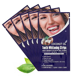 All Natural Coconut Oil Teeth Whitening Strips Kit, 14 Treatments/ Pack, Long-Lasting Naturally Ingredients, Whiten Teeth Naturally (Coconut)