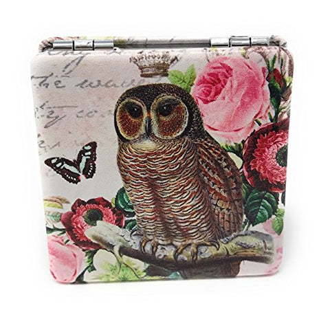 Purse Pocket Mirror - Owl and Floral Print - 2 in 1 With 2X Magnification