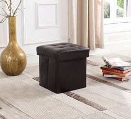 "Folding Storage Ottoman Bench, Great as a Seat or a Foot Rest Stool, Space Saver for Toys or Blanket, Faux Leather with No Smell (14.9"" L x 14.9"" W x 14.9"" H, brown)"