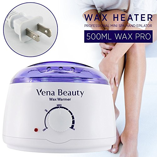 Wax Warmer, Hair Removal Waxing Kit Electric Hot Wax Heater for Facial &Bikini Area& Armpit with 2 different flavors Hard Wax Beans and Wax Applicator Sticks - Self-waxing Spa in Home by Vena Beauty