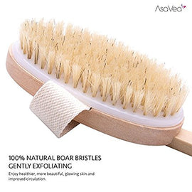 Nature Dry scrape Body Brush -- 4 in 1 & Dry Skin Brushing -AsaVea Reduces Cellulite Stress While Boosting Immune System Skins Appearance Circulation, All-Natural Materials Long Wood Handle Boar Bristle Brushy