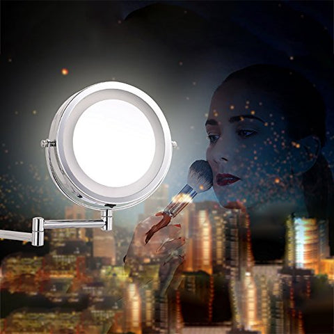 Beautiful Up Two-Sided 8 inch Battery LED Lighted Wallmount Vanity Makeup Mirror with 5x Magnification, Nickel Brushed