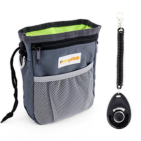 Dog Treat Pouch with Waste Bags Dispenser, FurryFido Dog Training Pouch (Grey)
