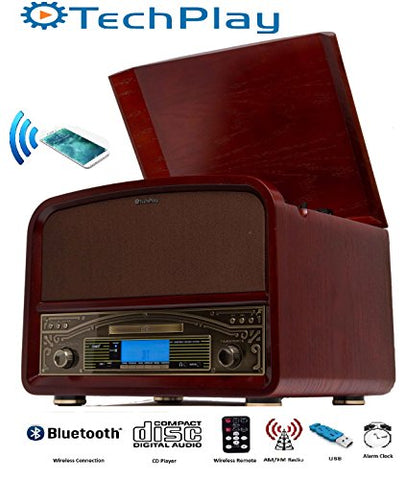 TechPlay TCP9560BT CH, Bluetooth 20W Retro Wooden 3 Speed Turntable with CD Player, AM/FM Radio, USB Recording & Playback with Remote Control – Cherry wood color
