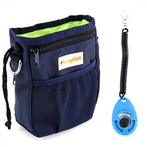 Dog Treat Pouch with Waste Bags Dispenser, FurryFido Dog Training Pouch (Blue)