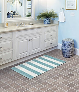 Garland Rug Beach Stripe Bath Rug, 21  x 34 , Seafoam/White