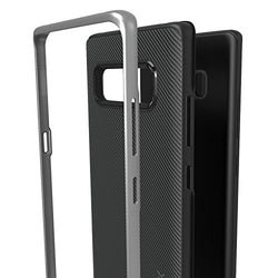 Ubittek Flexible Inner Protection and Reinforced Hard Bumper Frame Case for Samsung Galaxy Note 8 (Silver)