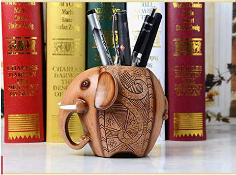 Vintage Wooden Elephant Pen Pencil Holder Organizer With Exquisite Surface Carvings for Home or Office (With Tusks)