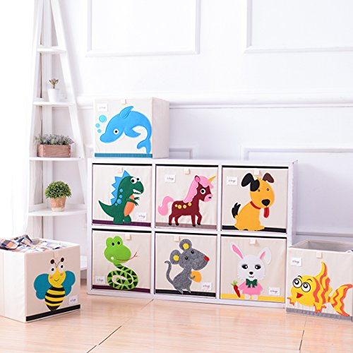DODYMPS Foldable Animal Canvas Storage Toy Box/Bin/Cube/Chest/Basket/Organizer For Kids, 13 inch (Dinosaur)