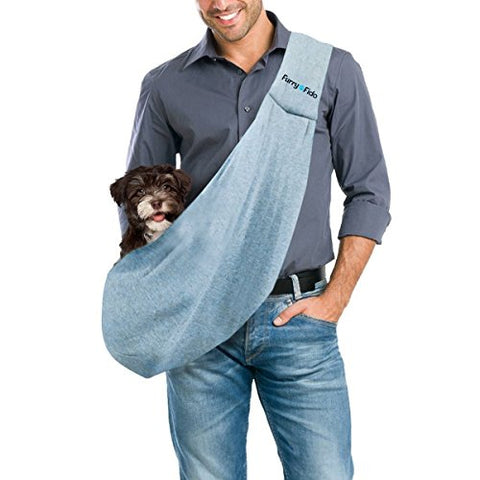 FurryFido Reversible Pet Sling Carrier for Cats Dogs up to 13+ lbs, Blue