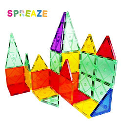 3D Magnetic Building Blocks by Spreaze, 100% Safe, Strong Clear Colorful Magnet Construction Tiles