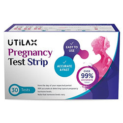 Pregnancy Test Strips in Bulk [30 Sets] Early Detection Urine Test Kit (HCG) by Utilax: Over 99% Accuracy, Easy to Use, Clear Result, Cost Effective