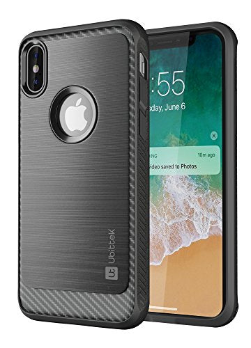 iPhone X Case, Ubittek Resilient Shock Absorption and Carbon Fiber Design Case for iPhone X