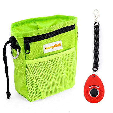 Dog Treat Pouch with Waste Bags Dispenser, FurryFido Dog Training Pouch (Green)