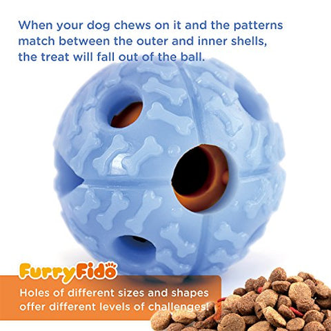 Interactive Dog Ball by FurryFido Chew Toy : Indestructible Treat-Dispensing Smart IQ Toy, Made of Nontoxic TPR (Blue)