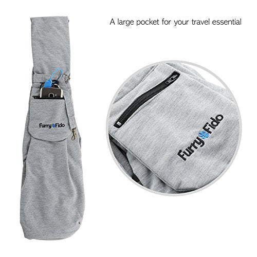 Dog Carrier Sling Pet Sling, FurryFido Pet Sling Carrier (Grey, Adjustable with pocket)