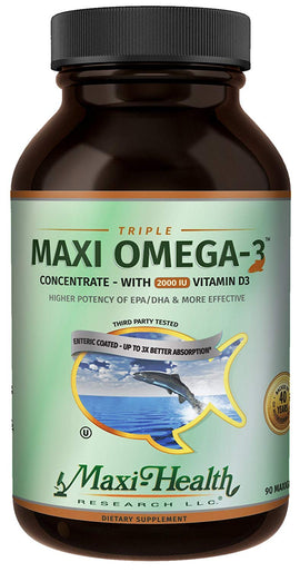 Maxi Health Triple Maxi Omega-3 Concentrate Fish Oil with Vitamin D3 90 Gels