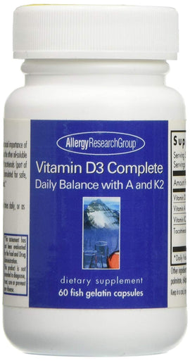 Allergy Research Group Vitamin D3 Complete Daily Balance with A and K2 Fish Gelatin Capsules, 60 Count
