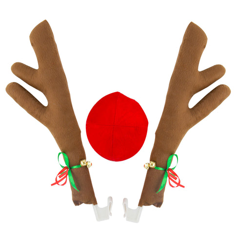 Car Window Roof Front Accessories Rudolf Reindeer Antlers Easy Install Rooftop Antler and Grille Nose