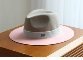 EVEN - Color Block Bowler Hat - Gray & Pink