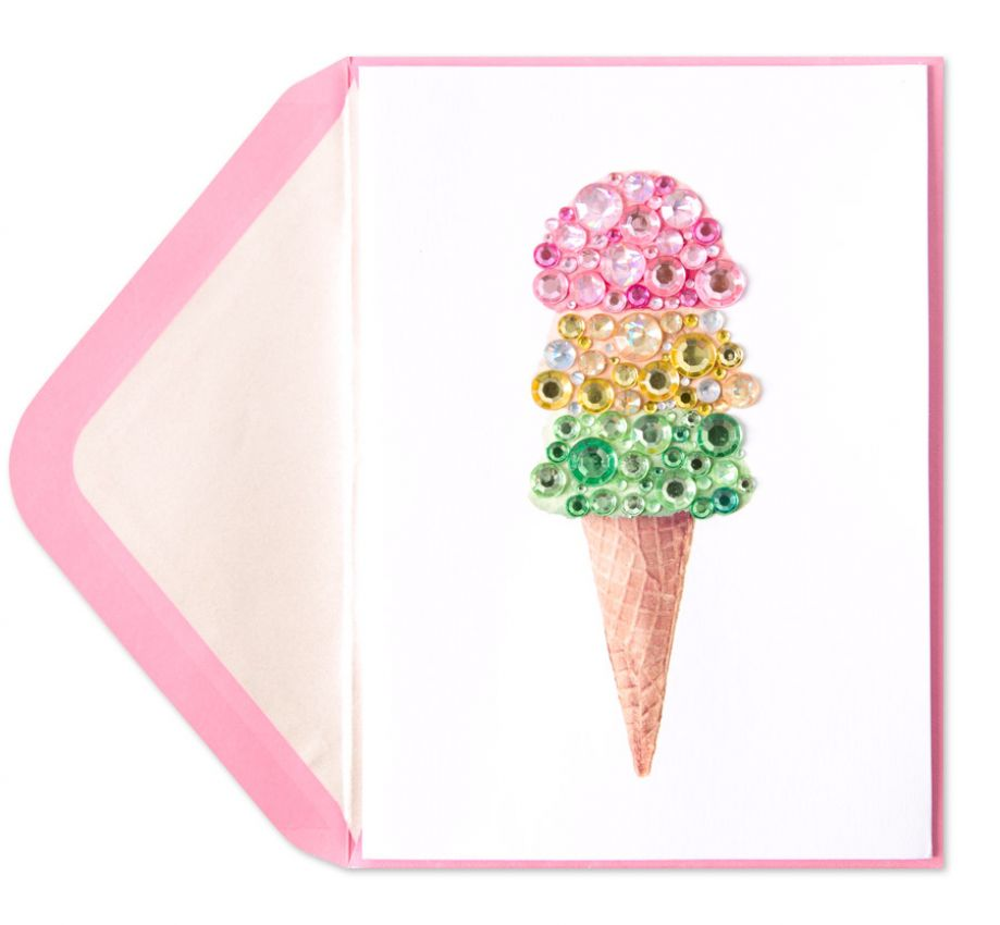 Gem Ice Cream Cone Birthday Card