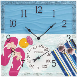 "Springfield 14"" At The Pool Poly Resin Clock With Thermometer"
