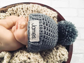 Personalized Baby Hat - Customized Crochet Baby Hat - 23 Colors Available