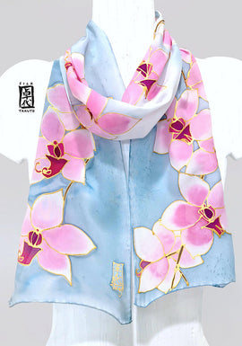 Hand Painted Silk Scarf, Pink Silk Scarf, Summer Scarf, Floral Scarf, Blue Gray Silk Scarf, Pastel Pink Orchid, Silk Takuyo, Made to order