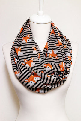 Fox pattern Unique Infinity Animal Print Scarf Circle Scarf Scarves Shawls Fall Autumn Color Winter fashion Gift For Her Women Wife