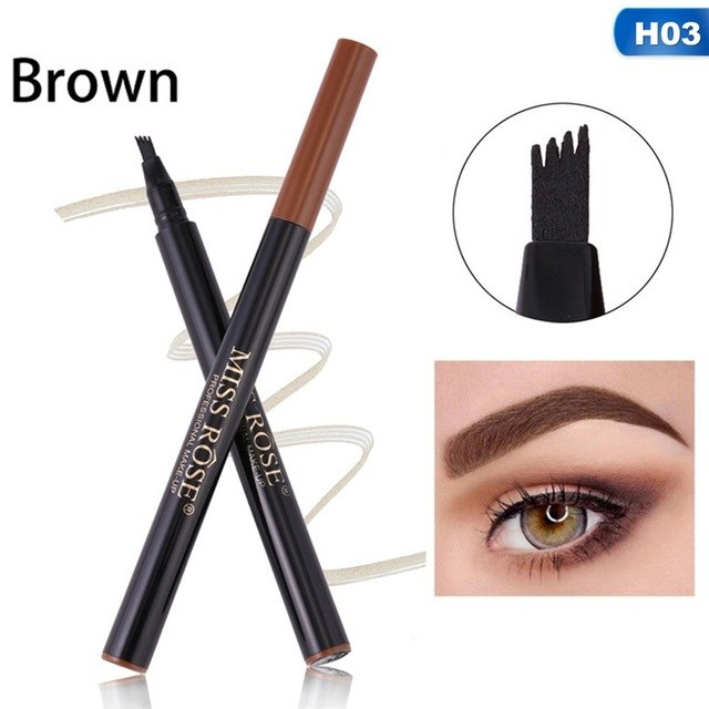 1Pcs New Micro-carving Four Forked Eyebrow Pen Liquid Eyebrow Pencil Natural Long-lasting Waterproof Sweat-proof
